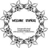 Λουλούδι πλήθους, ευπρόσδεκτος τροπικός εγγραφής για τη ευχετήρια κάρτα r διανυσματική απεικόνιση