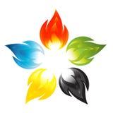Λουλούδι πυρκαγιάς με τα χρώματα των πέντε ηπείρων ελεύθερη απεικόνιση δικαιώματος