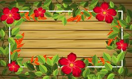 Λουλούδι στο ξύλινο υπόβαθρο διανυσματική απεικόνιση