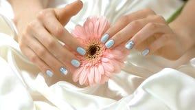 Λουλούδι χαδιού χεριών, σε αργή κίνηση απόθεμα βίντεο