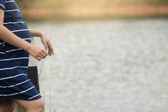 Λουλούδι χλόης λαβής εγκυμοσύνης γυναικών με τη φύση λιμνών στοκ φωτογραφία με δικαίωμα ελεύθερης χρήσης