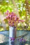 Λουλούδι Gypsophila στον κασσίτερο στον πίνακα γυαλιού Στοκ Φωτογραφίες