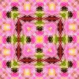 Λουλούδι Lotus, εξαγωνική διακόσμηση ταπήτων Στοκ Εικόνες