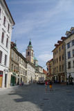 Λουμπλιάνα, Σλοβενία - 27 Αυγούστου 2010: Για τους πεζούς οδός σε παλαιό στοκ φωτογραφίες
