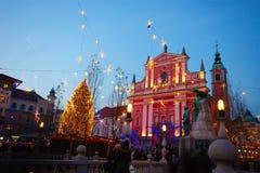 Λουμπλιάνα τή νύχτα, Σλοβενία Στοκ Φωτογραφία