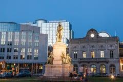 Λουξεμβούργια πλατεία στις Βρυξέλλες στο σούρουπο Στοκ Εικόνες