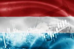 Λουξεμβούργια σημαία, χρηματιστήριο, οικονομία ανταλλαγής και εμπόριο, παραγωγή πετρελαίου, σκάφος εμπορευματοκιβωτίων στην επιχε απεικόνιση αποθεμάτων