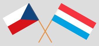 Λουξεμβούργο και τσέχικα Οι του Λουξεμβούργου και σημαίες Czechia Επίσημη αναλογία Σωστά χρώματα διάνυσμα διανυσματική απεικόνιση