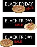 Λουξ πίτσα στο μαύρο έμβλημα πώλησης Παρασκευής ελεύθερη απεικόνιση δικαιώματος