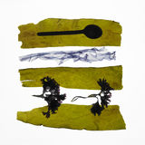 Λουρίδες του φρέσκου φυκιού, και κουτάλι Στοκ Εικόνες