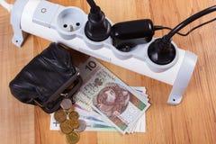 Λουρίδα ηλεκτρικής δύναμης με τα συνδεδεμένα βουλώματα και τα χρήματα νομίσματος στιλβωτικής ουσίας, ενεργειακά κόστη Στοκ Εικόνες
