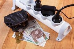 Λουρίδα ηλεκτρικής δύναμης με τα συνδεδεμένα βουλώματα και τα χρήματα νομίσματος στιλβωτικής ουσίας, ενεργειακά κόστη Στοκ εικόνα με δικαίωμα ελεύθερης χρήσης