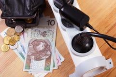Λουρίδα ηλεκτρικής δύναμης με τα συνδεδεμένα βουλώματα και τα χρήματα νομίσματος στιλβωτικής ουσίας, ενεργειακά κόστη Στοκ φωτογραφία με δικαίωμα ελεύθερης χρήσης