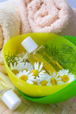 Λουτρό - aromatheraphy - βοτανικό λοσιόν θεραπείας - camomile Στοκ Εικόνες