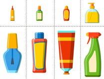 Λουτρών πλαστική μπουκαλιών σαμπουάν εμπορευματοκιβωτίων απεικόνιση ύφους ντους επίπεδη για το διανυσματικό σχέδιο υγιεινής λουτρ Στοκ Φωτογραφία