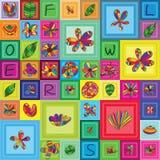 Λουλουδιών εντόμων άνευ ραφής σχέδιο πλαισίων πλαισίων τετραγωνικό Στοκ Εικόνα