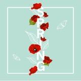Λουλούδια άνοιξη, γραφικό ύφος για τις κάρτες, τα υπόβαθρα και την μπλούζα Απεικόνιση αποθεμάτων