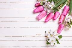 Λουλούδια δέντρων της Apple και ρόδινες τουλίπες στο άσπρο ξύλινο υπόβαθρο Στοκ Εικόνες