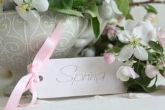 Λουλούδια ανθών της Apple στο βάζο με την κάρτα δώρων Στοκ εικόνα με δικαίωμα ελεύθερης χρήσης
