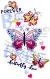 Λουλούδια αποσπασμάτων πεταλούδων Γραφικό σχέδιο για την μπλούζα απεικόνιση αποθεμάτων