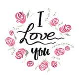 Λουλούδια ευχετήριων καρτών με συρμένο το χέρι γράφοντας κείμενο σ' αγαπώ και τα τριαντάφυλλα ελεύθερη απεικόνιση δικαιώματος