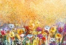 Λουλούδια ζωγραφικής Watercolor και μαλακά πράσινα φύλλα ελεύθερη απεικόνιση δικαιώματος