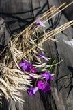 Λουλούδια και αυτιά του καλαμποκιού στην ξύλινη σύσταση Στοκ φωτογραφία με δικαίωμα ελεύθερης χρήσης