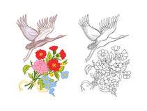Λουλούδια και γερανός Σύνολο χρωματισμένου σχεδίου δειγμάτων και περιλήψεων Στοκ Φωτογραφία