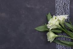 Λουλούδια και διακοσμητική ταινία στο σκοτεινό συγκεκριμένο υπόβαθρο χαιρετισμός καλή χρονιά καρτών του 2007 Έννοια γαμήλιας πρόσ Στοκ φωτογραφίες με δικαίωμα ελεύθερης χρήσης