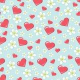 Λουλούδια και καρδιές κερασιών στο σχέδιο ή το υπόβαθρο seamline ελεύθερη απεικόνιση δικαιώματος