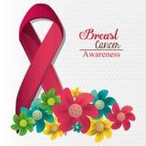 Λουλούδια και κορδέλλα συνειδητοποίησης καρκίνου του μαστού ελεύθερη απεικόνιση δικαιώματος