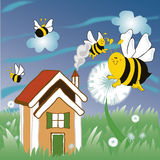 Λουλούδια και μέλισσες Στοκ Εικόνες