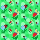 Λουλούδια και πεταλούδα διανυσματική απεικόνιση