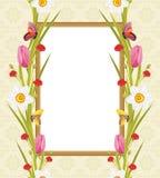 Λουλούδια και πεταλούδες άνοιξη στο διακοσμητικό πλαίσιο χαιρετισμός καλή χρονιά καρτών του 2007 Στοκ Εικόνες