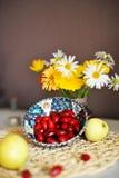 Λουλούδια και φρούτα Στοκ εικόνα με δικαίωμα ελεύθερης χρήσης