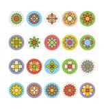 Λουλούδια και Floral χρωματισμένα διανυσματικά εικονίδια 1 Στοκ Εικόνες