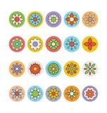 Λουλούδια και Floral χρωματισμένα διανυσματικά εικονίδια 2 Στοκ Εικόνες