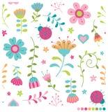Λουλούδια και ladybugs σχέδιο κρητιδογραφιών Στοκ φωτογραφία με δικαίωμα ελεύθερης χρήσης