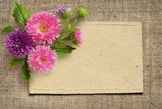 Λουλούδια καρτών και αστέρων εγγράφου Στοκ Φωτογραφία