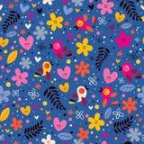 Λουλούδια, καρδιές, άνευ ραφής σχέδιο φύσης αγάπης πουλιών Στοκ Εικόνες