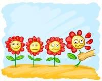 Λουλούδια κινούμενων σχεδίων στο λιβάδι διανυσματική απεικόνιση