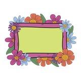 Λουλούδια με το κεντρικό doodle συρμένο χέρι διάνυσμα πλαισίων Στοκ Εικόνες