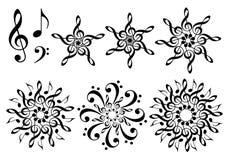 Λουλούδια μουσικής, διανυσματικό σύνολο Στοκ Φωτογραφία