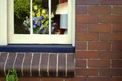 Λουλούδια πίσω από το παράθυρο Στοκ εικόνα με δικαίωμα ελεύθερης χρήσης