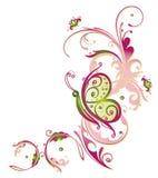 Λουλούδια, πεταλούδα, τρύγος διανυσματική απεικόνιση