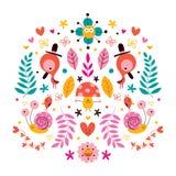 Λουλούδια, πουλιά, διανυσματική απεικόνιση μανιταριών & φύσης χαρακτήρων σαλιγκαριών Στοκ Φωτογραφία