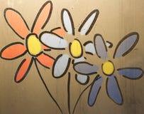 Λουλούδια που χρωματίζονται στο γυαλί Πορτοκάλι, μπλε, κίτρινος, άσπρο Στοκ Φωτογραφία