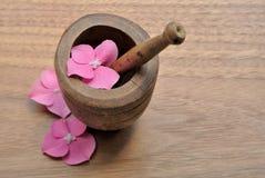 Λουλούδια σε ένα γουδοχέρι για aromatherapy και τη SPA Στοκ φωτογραφία με δικαίωμα ελεύθερης χρήσης