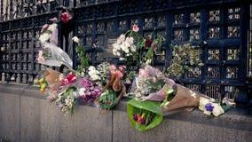 Λουλούδια στα κιγκλιδώματα στην πόλη απόθεμα βίντεο