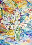 Λουλούδια στον καμβά Στοκ φωτογραφία με δικαίωμα ελεύθερης χρήσης